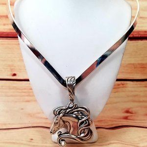Jewelry - Stainless Neck Lace & Horse Head Pendant.